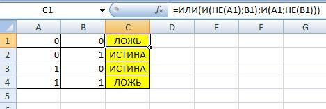 Используем Excel для построения таблицы истинности
