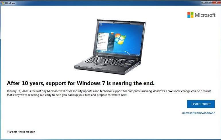 Окончание поддержки Windows 7