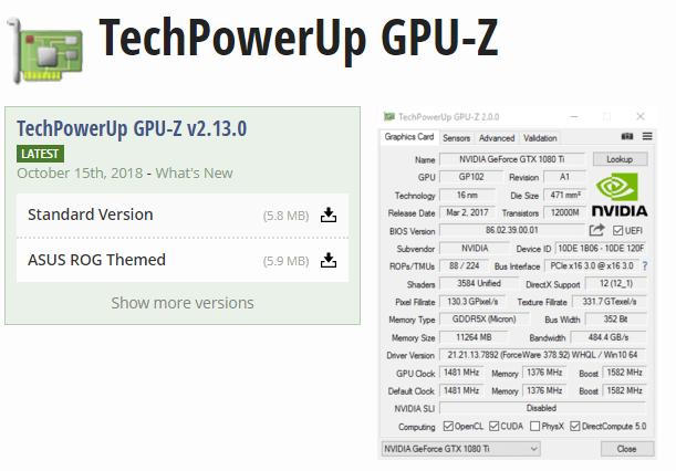 GPU-Z умеет определять фейковые видеокарты