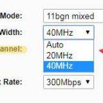 Ширина канала WiFi 40 МГц или 20 МГц
